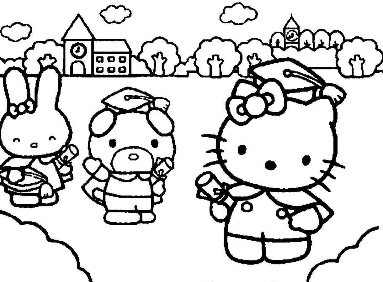 Hello Kitty Graduation Coloring Pages : Pin by coloring fun on hello kitty pinterest