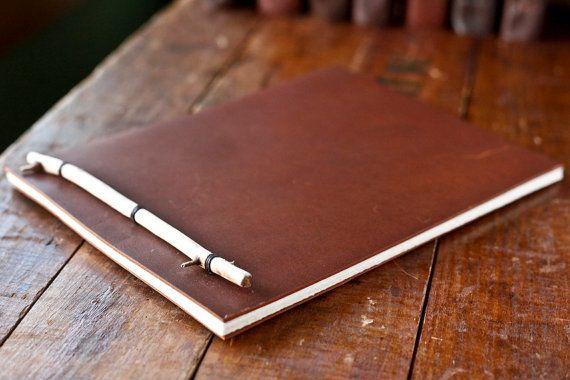 Driftwood Stick Binding Leather Journal  Notepad  by wayfaringart, $30.00