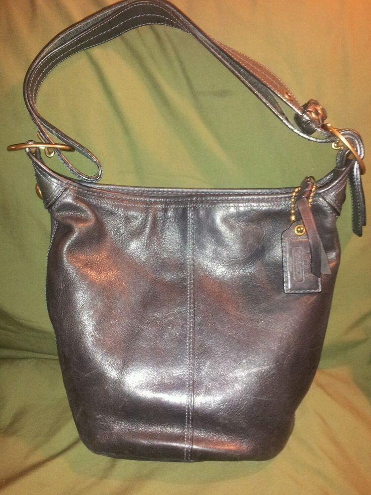 ... Coach Bleecker Black Leather Tattersall Plaid Hobo Duffle Crossbody Bag  11422 . 0328b4746b