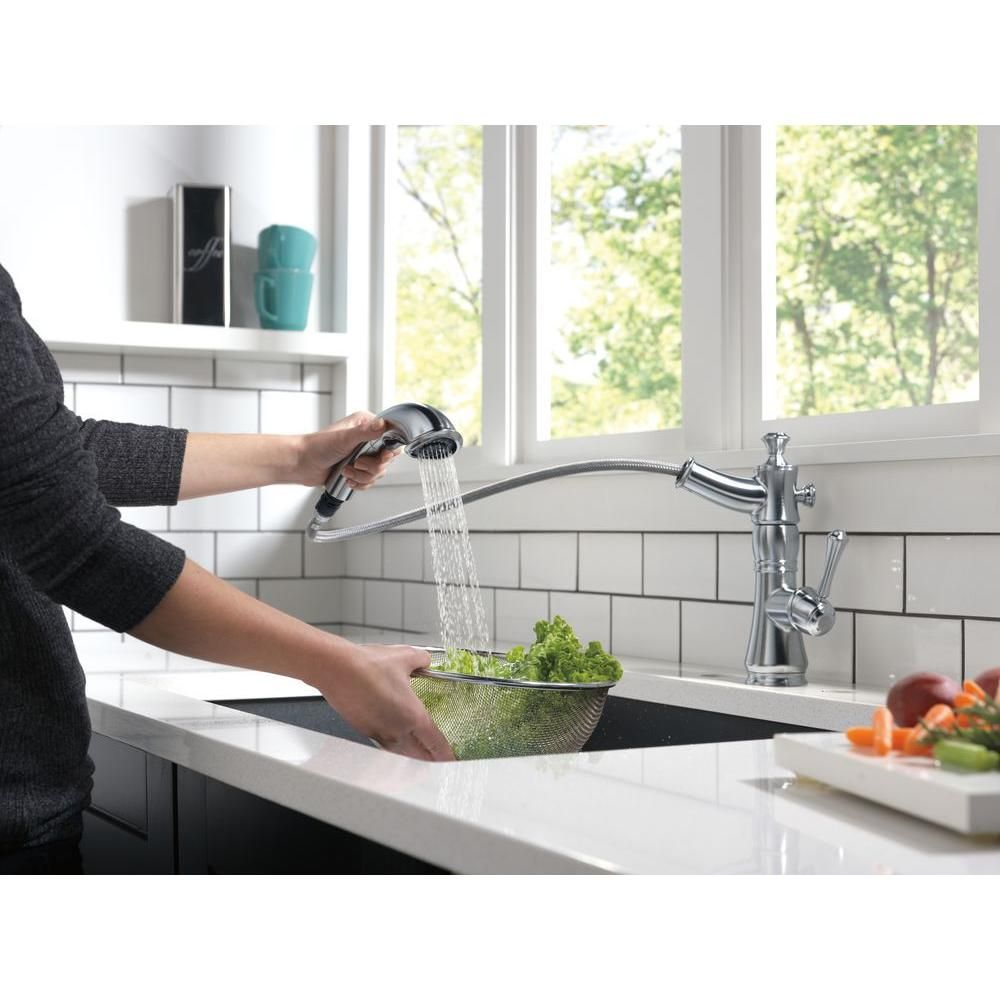 Delta Cassidy Single-Handle Pull-Out Sprayer Kitchen Faucet in ...