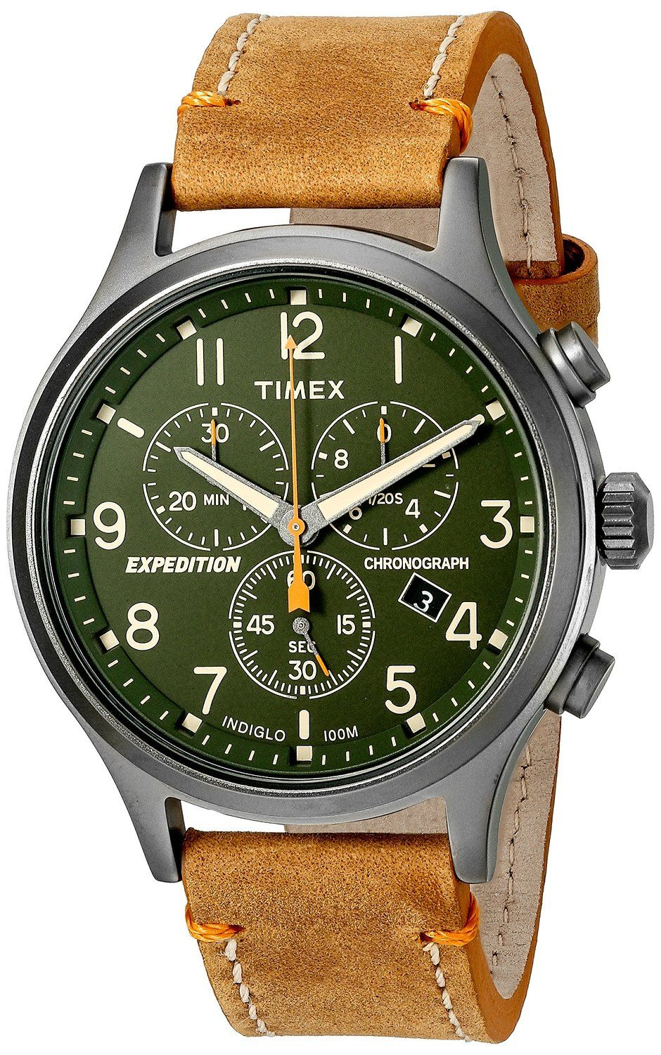 d6e641526 Amazon.com: Timex Men's TW4B044009J Expedition Scout Chrono Tan/Green  Leather Strap Watch: Timex: Watches