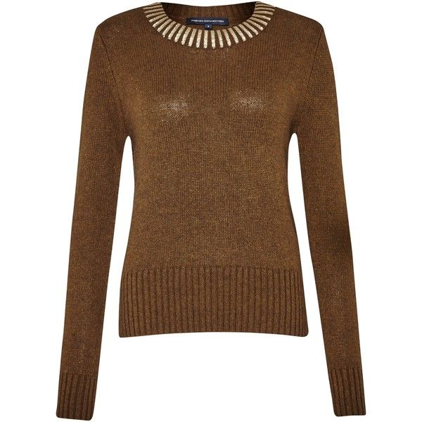 French Connection Ruby Jumper, Turtle/Gold ($85) ❤ liked on Polyvore featuring tops, sweaters, gold top, french connection top, turtle top, turtle sweaters e jumper top