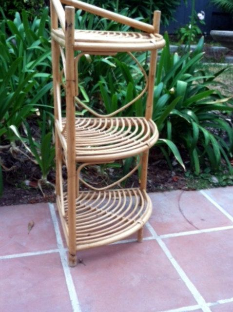 Vintage Rattan Bamboo Corner Shelf Great To By Welovelucite 125 00 Florida Room Decor Bathroom Themes Tiki Decor