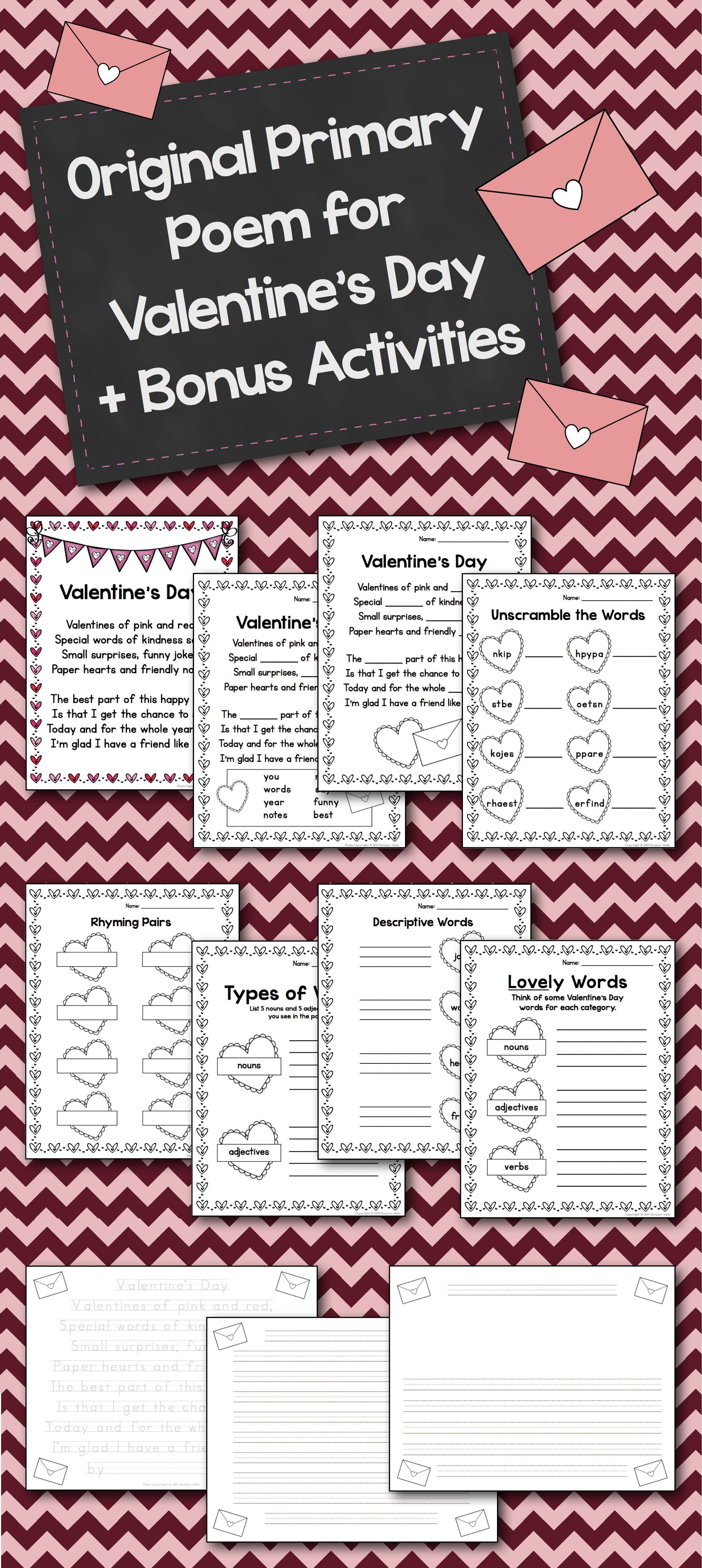 Valentine S Day Poem Cloze Activity And Minibook