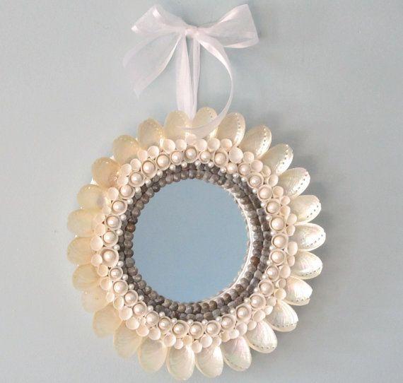 Beach Decor White Shell Mirror  Nautical by beachgrasscottage, $39.00