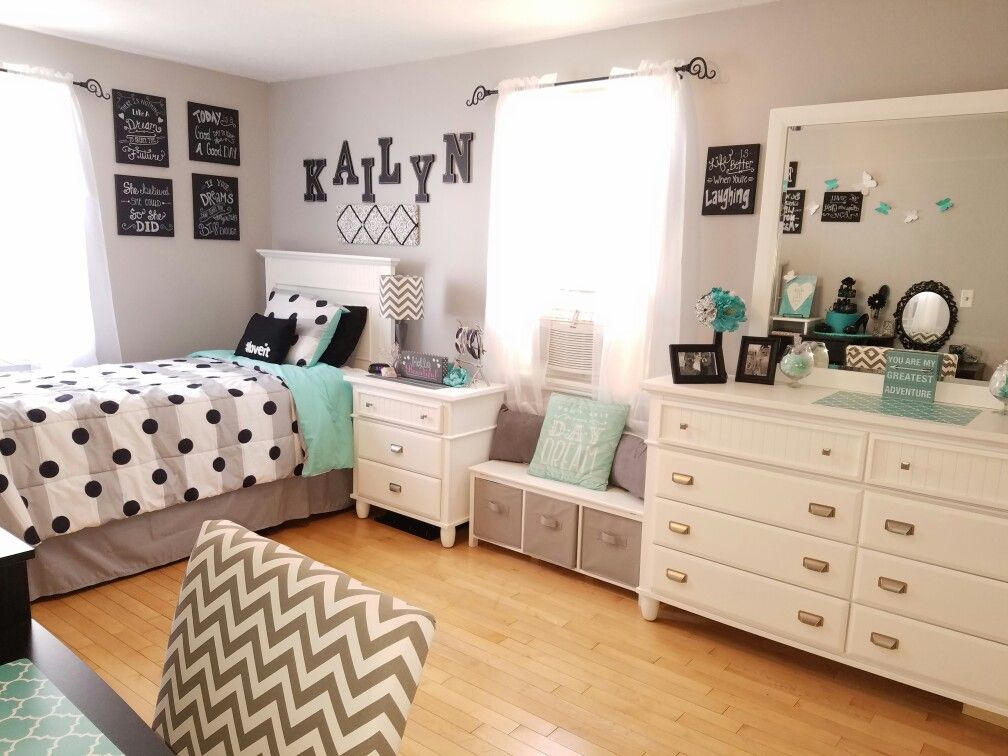 Grey and teal teen bedroom ideas for girls kids room - Teenage girl bedroom decorations ...