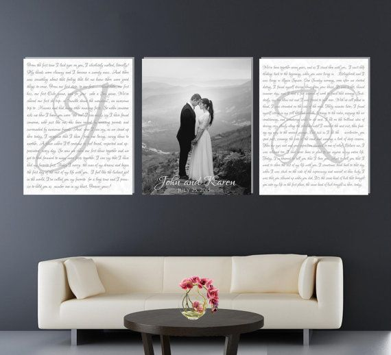 Set Of 3 Wedding Vows Canvas Anniversary Gift Canvas With Photo Black And White Photo Canvas Set V Wedding Vows Canvas Wedding Vow Art Bedroom Art Above Bed