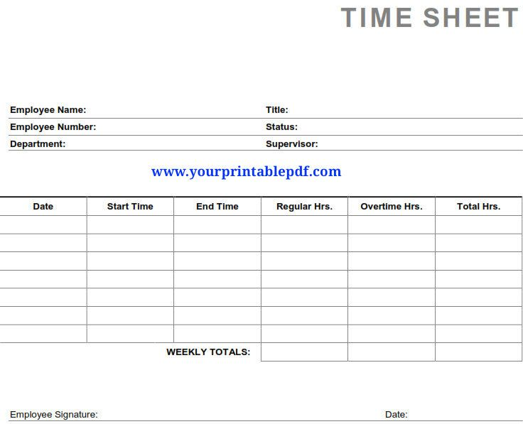 Printable Pdf Timesheets For Employees Use This Printable Pdf