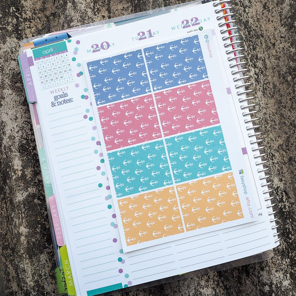 nautical theme full boxes sticker planner // perfect for erin