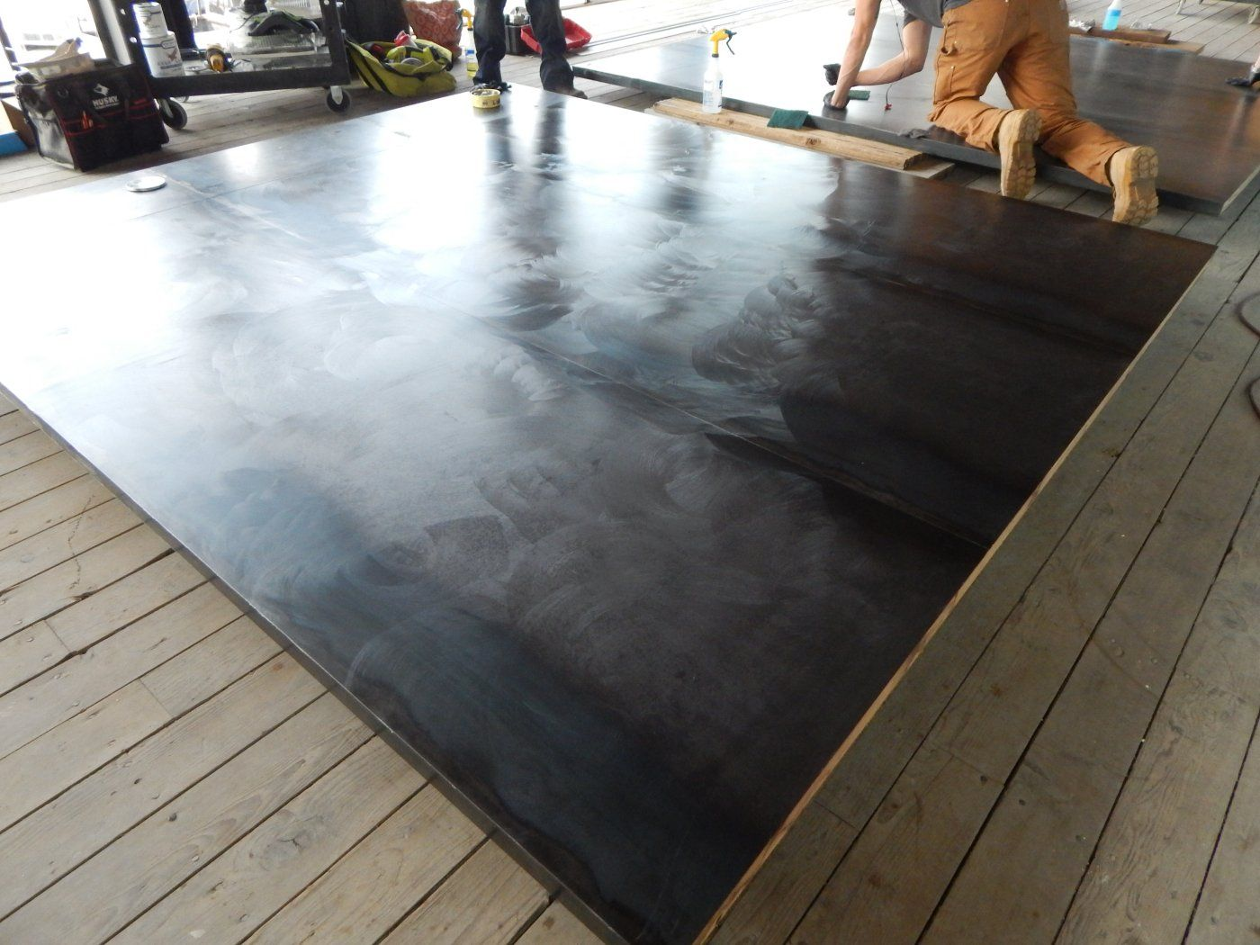 Large Hot Rolled Steel Panels Being Finished For Installation In Winery Steel Panels Steel Wall Steel Fabrication