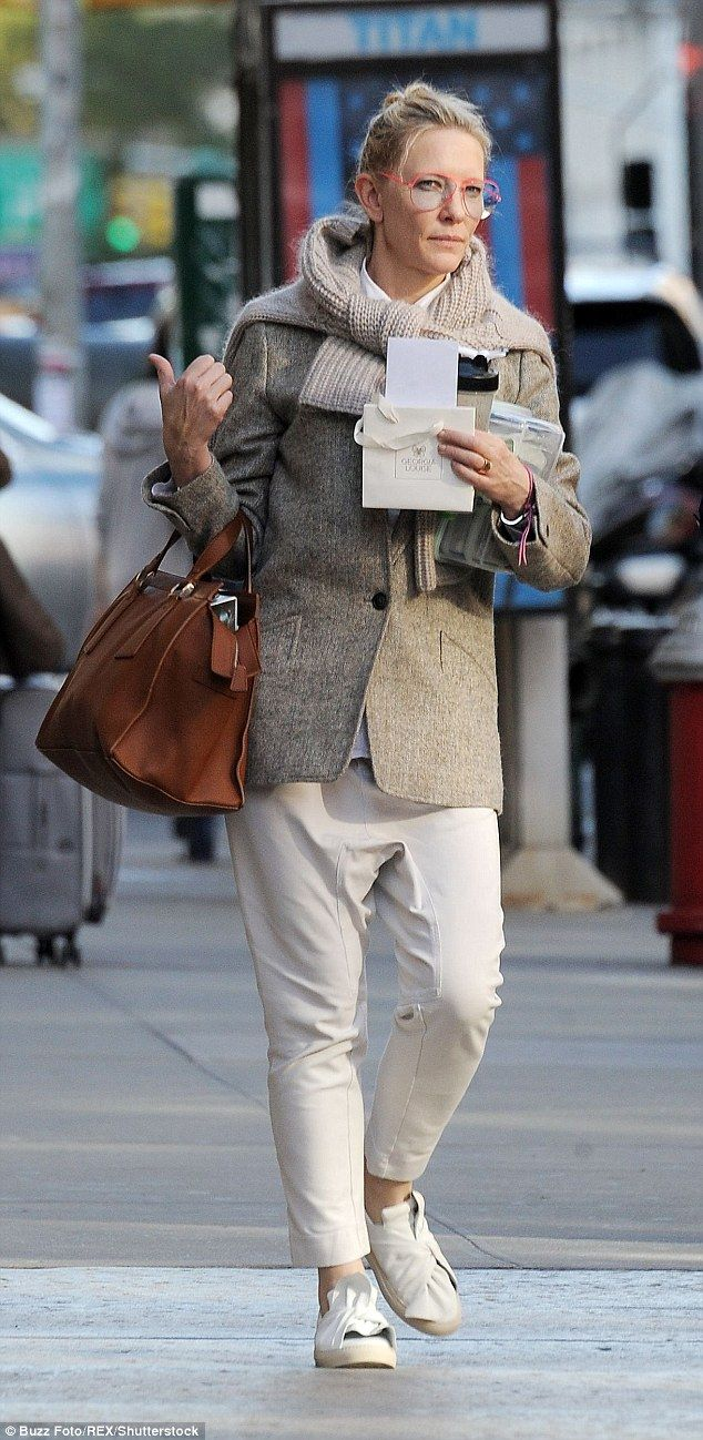 Makeup free Cate Blanchett looks chic and stylish in New