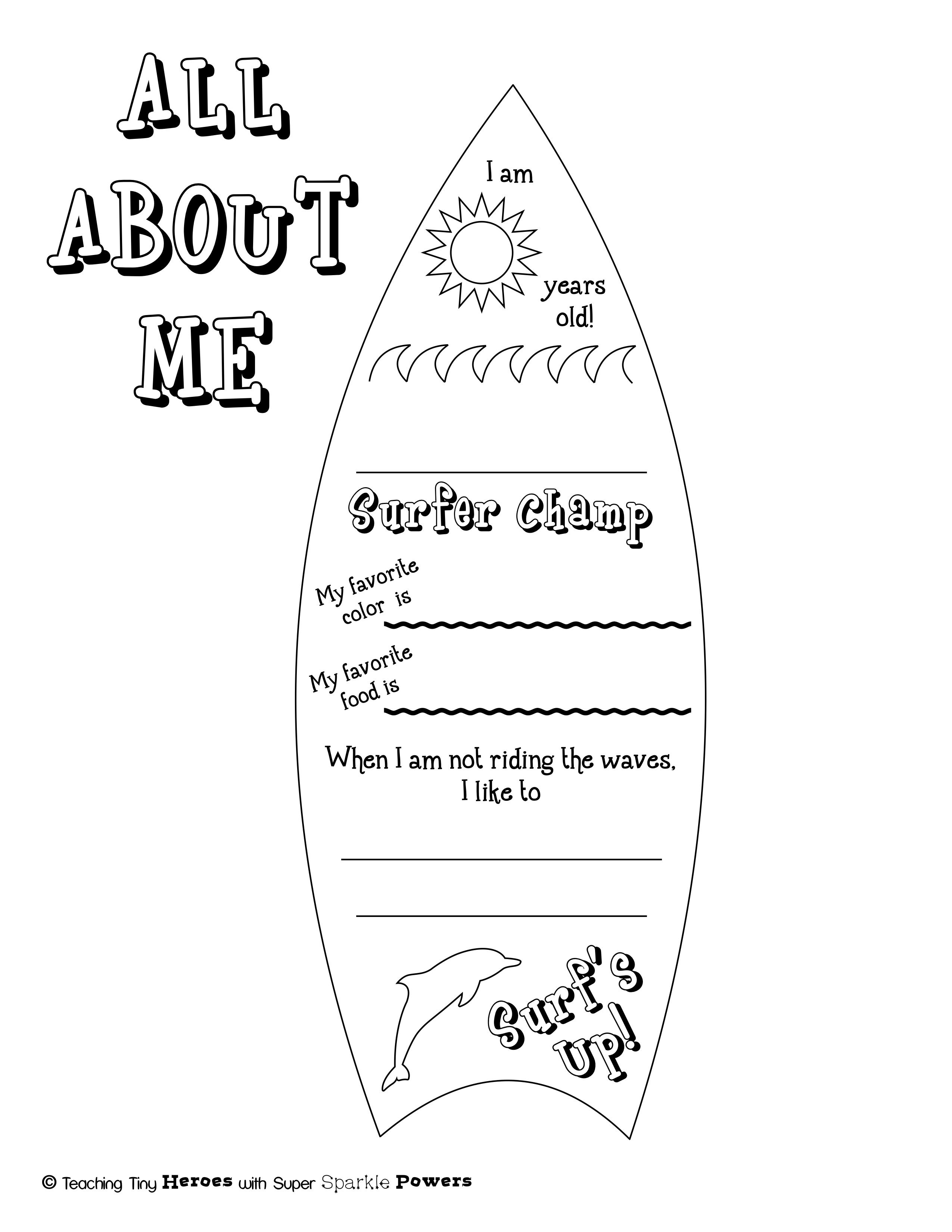 All About Me Surfboard Beach Themed Activity In