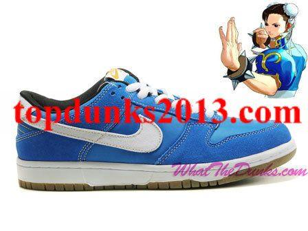best website c4bf1 2900b Chun Li Cartoon Nike SB Dunk Low Street Fighter Inspired Blue White Black  High Quality