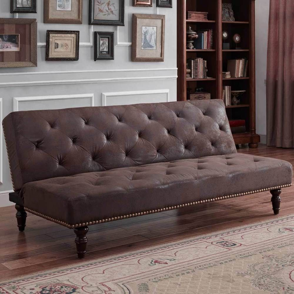 Details About Vintage Faux Suede Leather Brown Sofa Bed Elegant Classic Style With Stud Detail 4 Seater Sofa Bed Sofa Bed Sofa Bed Brown
