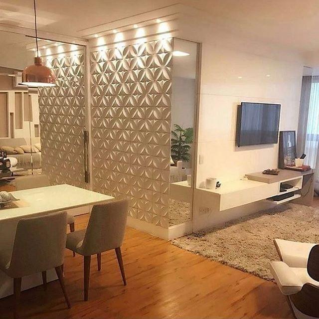 Inspira o para apartamento compacto destaque para o for Revestimento 3d sala de estar