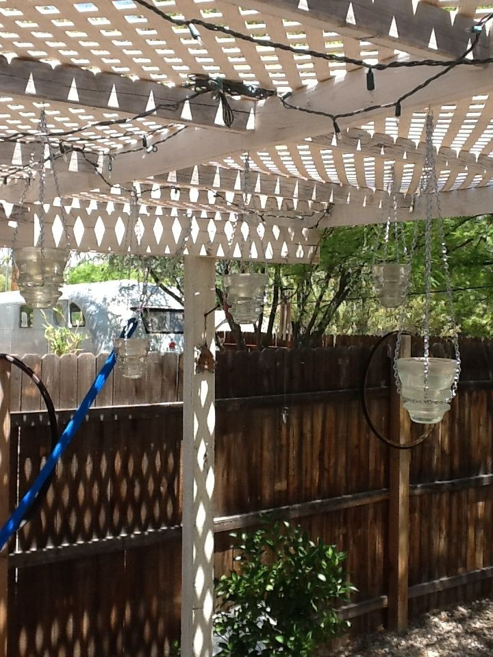 Telephone pole insulators/tea light holders.