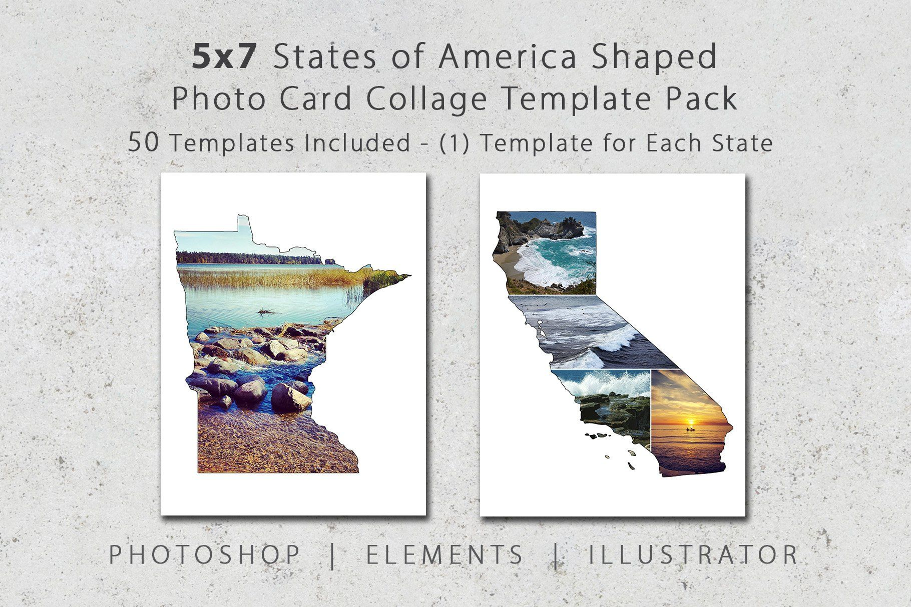 5x7 State Shaped Card Template Pack In 2020 Photo Collage Template Collage Template Photo Card Template