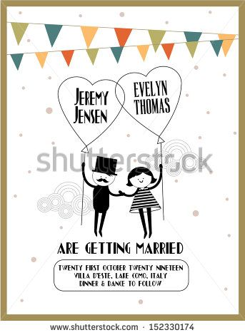 cute bride and groom in red car wedding invitation template ストック