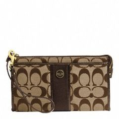 'Coach Signature Stripe Zippy Wallet' is going up for auction at  4pm Sun, Aug 25 with a starting bid of $1.