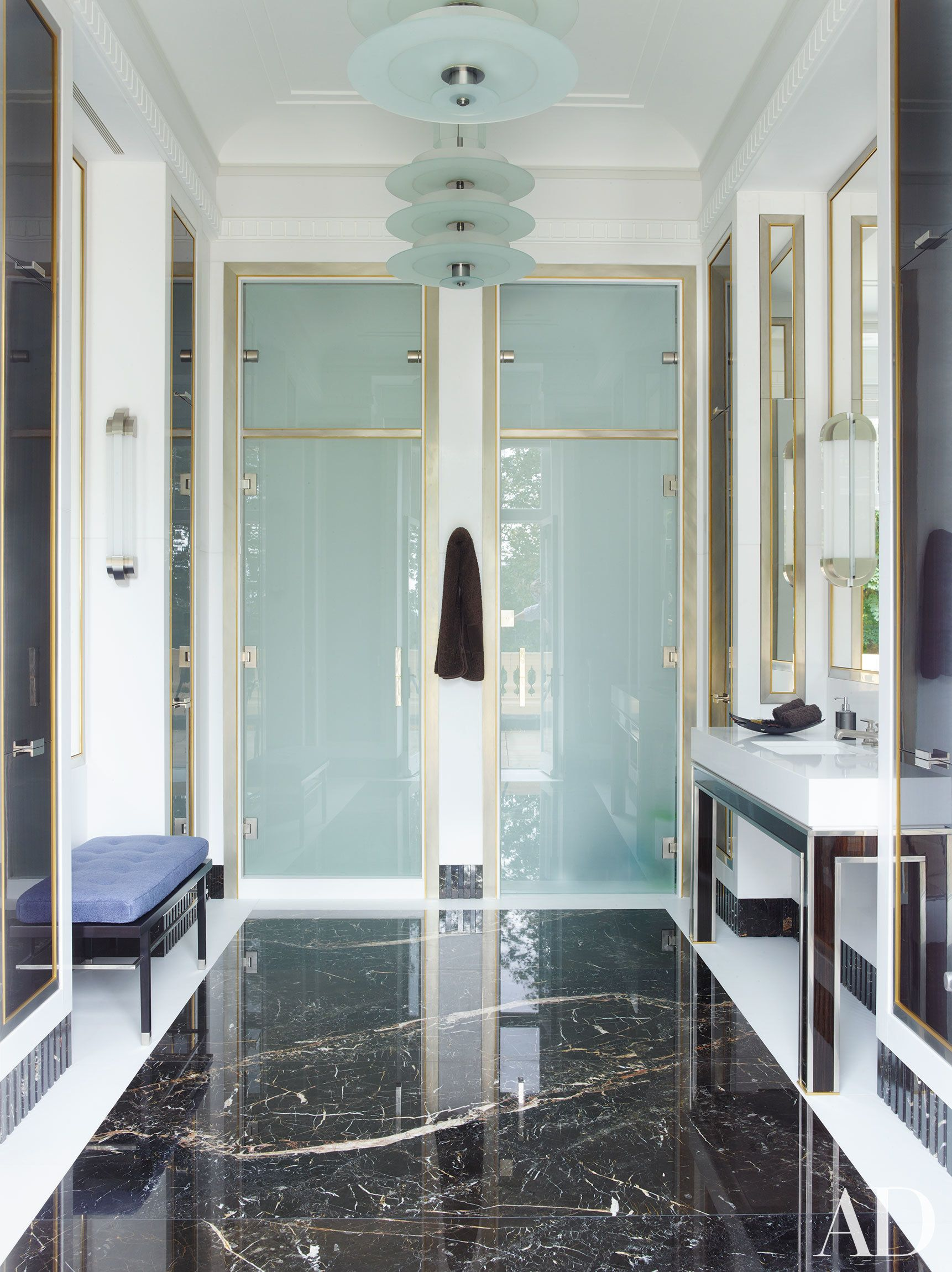 An incredible london mansion is transformed by timothy for Architectural digest bathroom designs