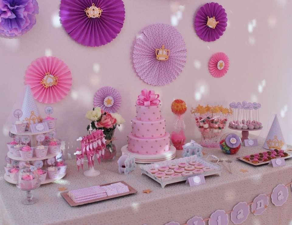 princess baptism pink gold princess bar tablesdessert