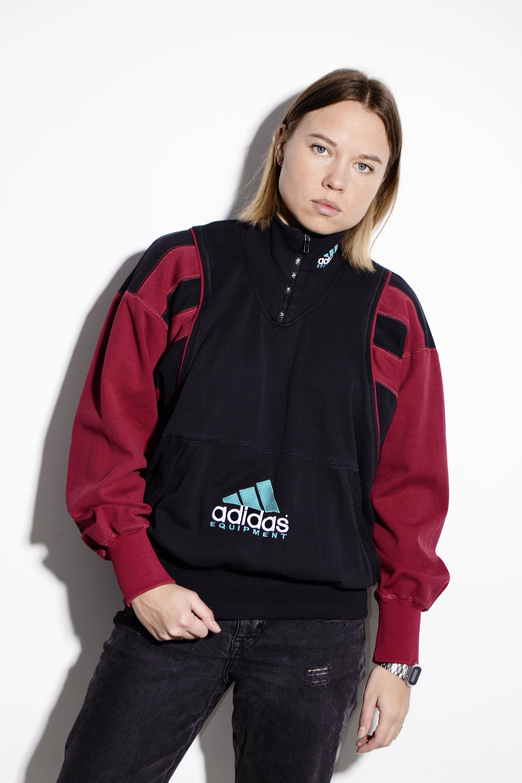 ADIDAS Equipment warm pullover with front logo | 90's 80's