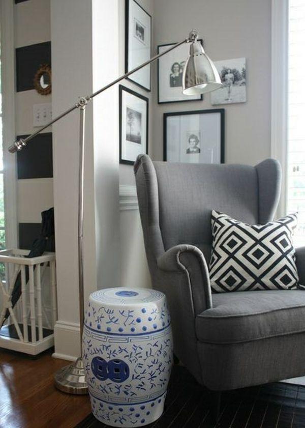 wohnzimmerlampen modern standleuchten bodenlampe silber ...