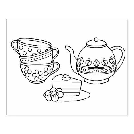 Teapot, Teacups, and Cake Coloring Page Rubber Stamp