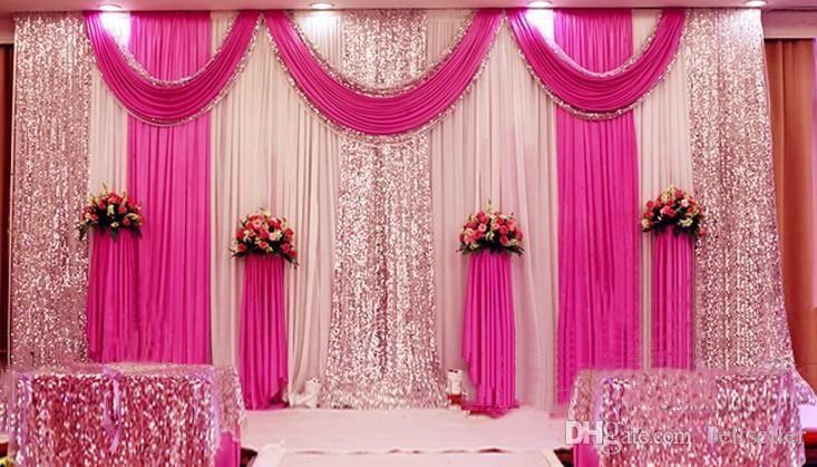 94e0203c3d 3M*6M Sequins Beads Edge Design Fabric Satin Drape Curtain Pink Swag ...