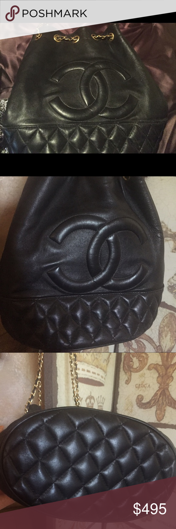 Quilted shoulder handbag Trying to decide if I should sell. 🤔It's in excellent preloved condition & although it's not the real deal it's really a beautiful classic vintage bag stored w care non smoking home too. Chanel inspired so no code, no bag or box. Black w gold hardware. Feels like lamb leather but not sure. Classic Bags Shoulder Bags