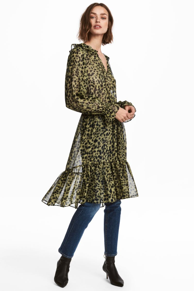 17f7fc38cb40c Green/leopard print. Knee-length dress in airy chiffon with a printed  pattern. Flounce-trimmed V-neck, tie at top, and long sleeves with narrow  elastication