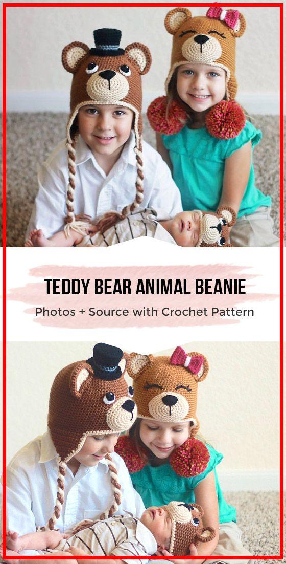 crochet Teddy Bear Animal Beanie easy pattern #crochetteddybearpattern