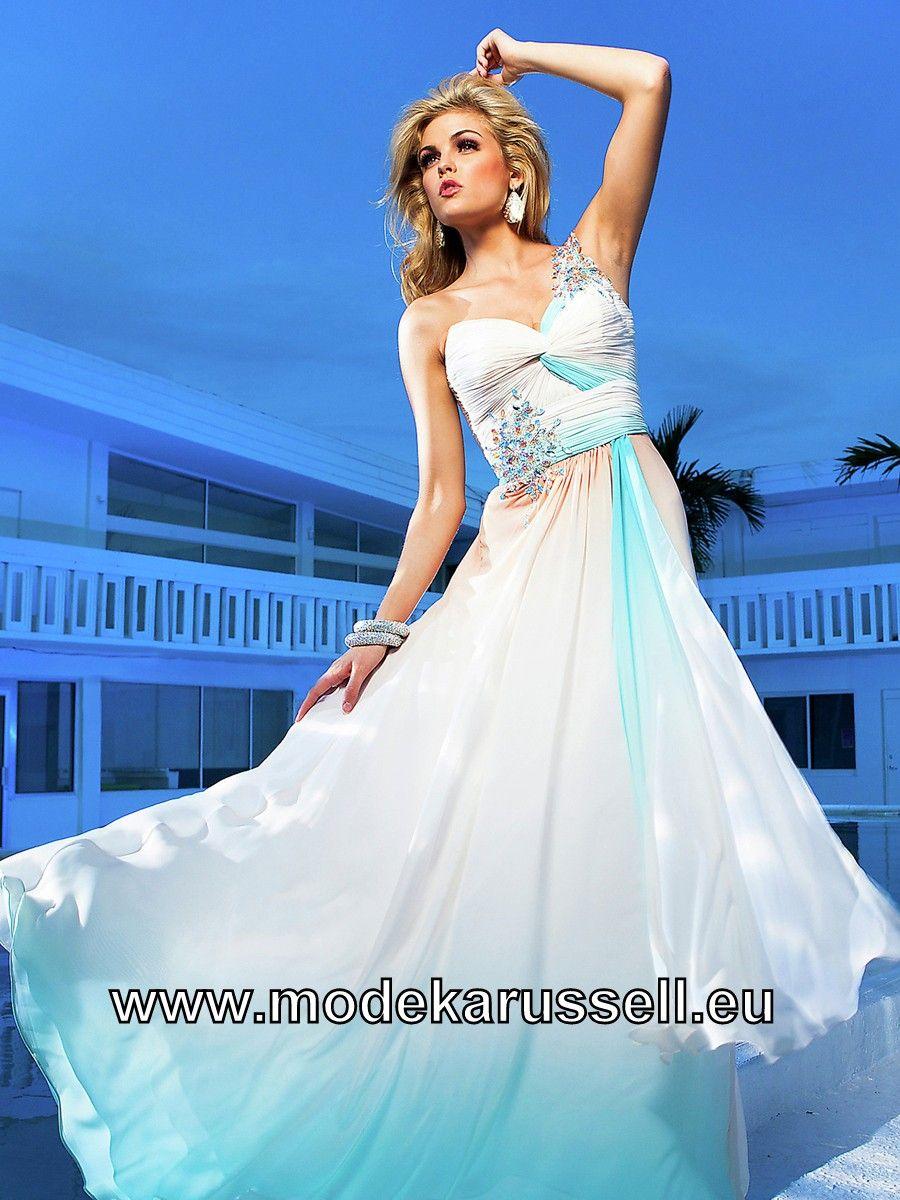 Glamour One Shoulder Chiffon Abendkleid in Weiss   günstige ...