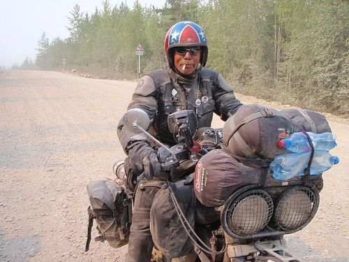 Doug from Bama... hardcore.. not many like him.. this is when he came out of his  road trip from Europe across Siberia... road of bones... showed up in Magadan, easternmost town in Russia.. no problem.