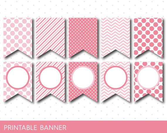 pink party banner pink banner pink birthday by jsdigitalpaper