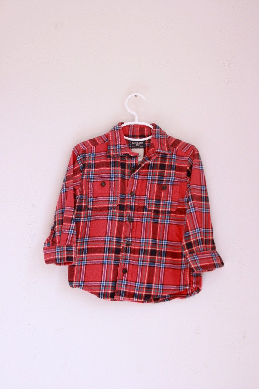fe7e4f872 Vintage Oshkosh children s red flannel shirt 3t by fuzzymama on Etsy ...
