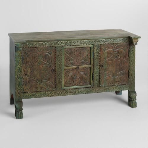 Cabinet Doors Open To Reveal Shelves For Easy Storage. Decorative  Hand Carved Flourishes Complete ...