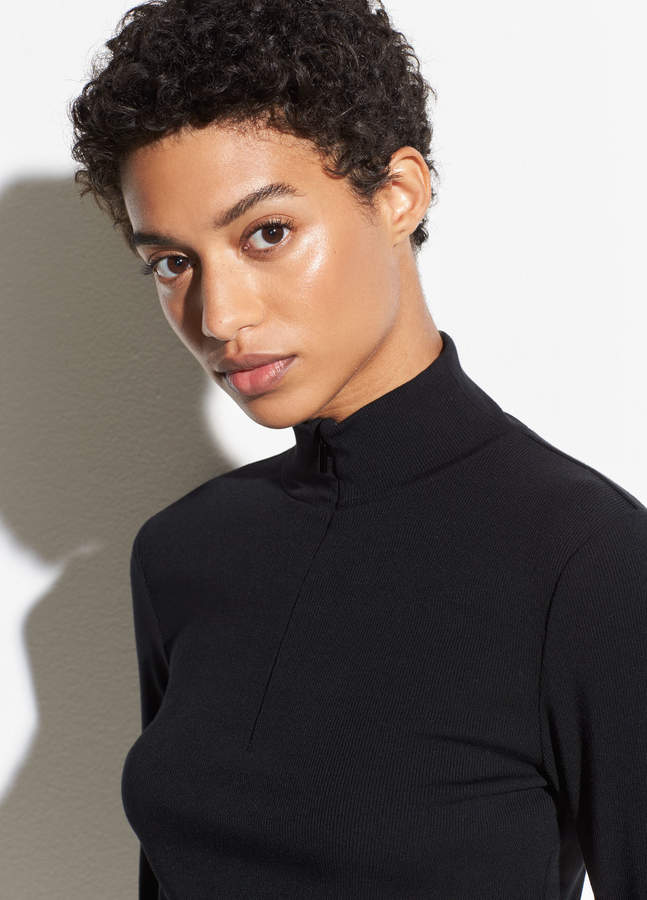 Rib Long Sleeve Half Zip Natural Hair Styles For Black Women Short Hair Styles Girl Short Hair