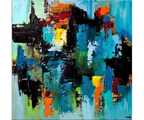 bleu color abstrait art contemporain abstrait acrylique sur toile pr te accrocher original. Black Bedroom Furniture Sets. Home Design Ideas