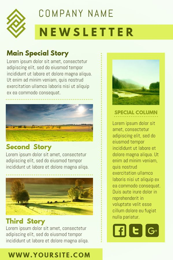 Yellow company newsletter design template Click to customize - sample business newsletter