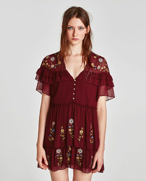 Image 2 Of Frilled Embroidered Dress From Zara I Like Pinterest
