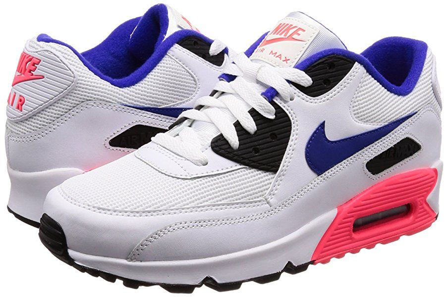 Nike Air Max 90 Essential, Baskets Homme, Blanc (WhiteBleu