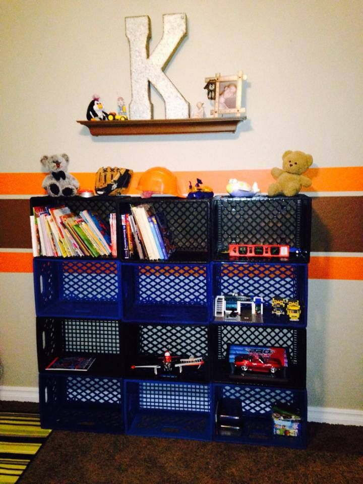 Old Milk Crates As Book And Toy Storage Kids Book Storage Milk Crate Storage Milk Crates