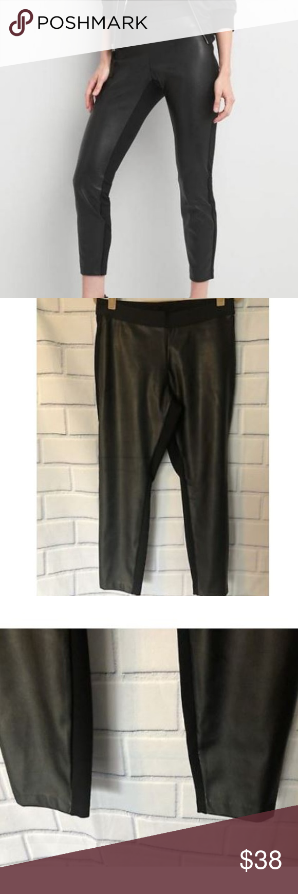 ebceab910f8393 GAP Women's Faux Leather Front Leggings Black Smooth, stretch ponte knit.  Elasticized band at waist. Faux leather front. #905273 Measurements:  (approximate) ...
