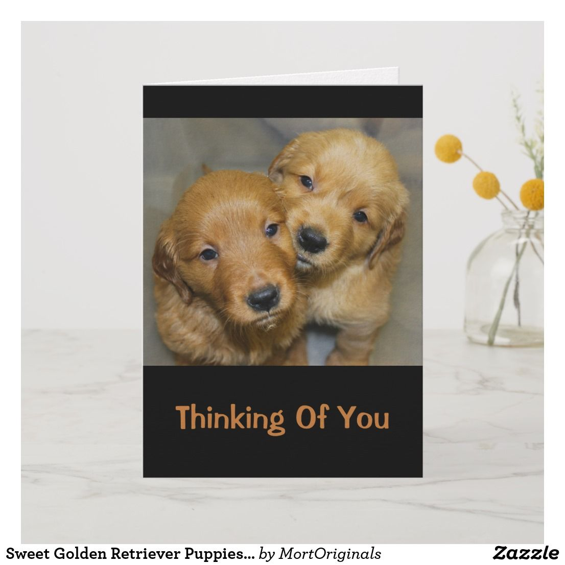 Sweet Golden Retriever Puppies Thinking Of You Card Zazzle Com