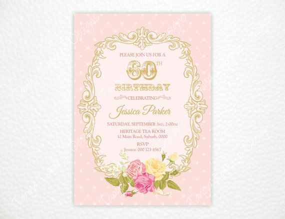 Elegant floral 60th birthday invitation with roses and gold frame elegant floral 60th birthday invitation with roses and gold frame size 5x7 when you make your purchase please send me your party details in the notes to filmwisefo