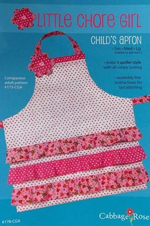 Cabbage Rose Little chore Girl Apron The Pattern Hutch craft pattern