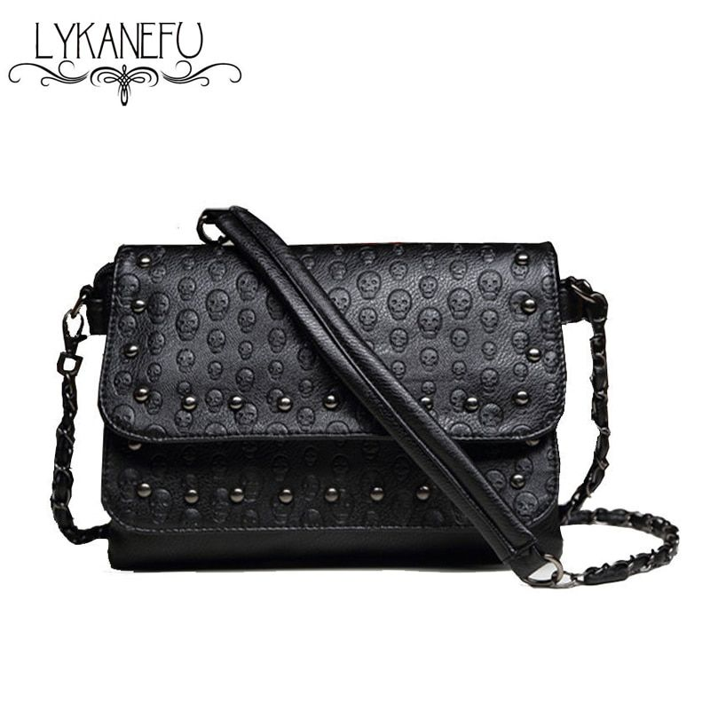 e4210c7893 LYKANEFU Fashion Black Rock Skull Bag Women Messenger Bags Designer Handbag  Clutch Purse Bag Bolsas Femininas Couro Dollar Price Review