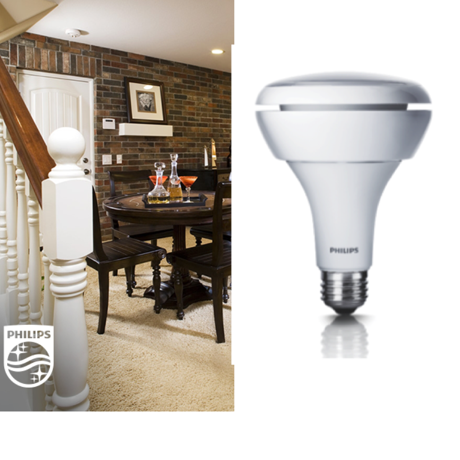 The Philips LED BR30 provides a soft, white light perfect
