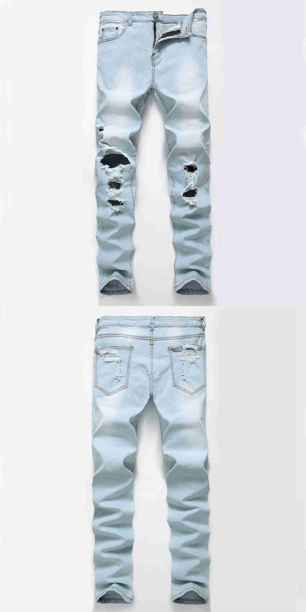 2137 Slim Mens biker jeans Knee with big hole Jogger jeans Vintage Ripped  jeans for 0f2e58152